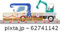 パワーショベルとクレーントラック 62741142