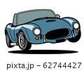 アメリカンヒストリックオープンカー ジャンプ 青色 自動車イラスト 62744427
