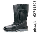 Black winter work boot isolated on white 62744803