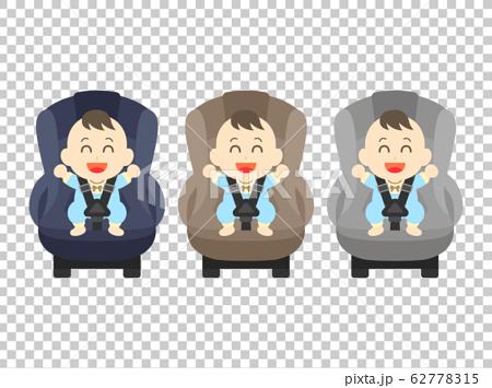 坐在兒童座椅上的男孩的插圖 62778315