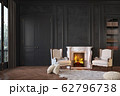Classic black interior with fireplace, armchairs, moldings, wall pannel, carpet, fur. 62796738