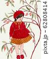 水彩画 女の子 秋の花 62808414