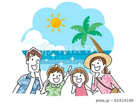 イラスト素材:家族旅行、海外、海、リゾート 62819196