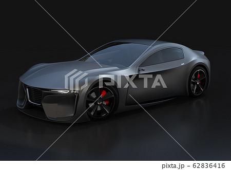 黒バックに艶消しブラックの電動スポーツクーペのイメージ。オリジナルデザイン 62836416