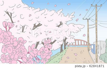 桜が咲く田舎の風景線画 62841871