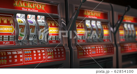 Slot machines row in a casino. Onliine casino and 62854100