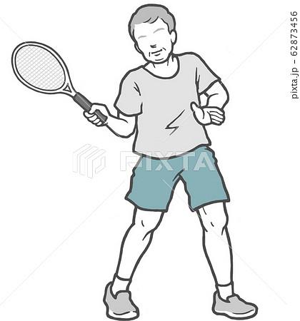テニス 中年男性 男性 62873456
