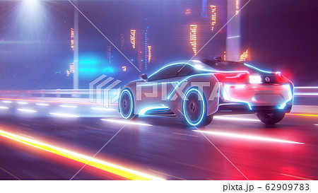 Future car going on the road 3d illustration 62909783