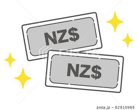 キラキラ輝くNZドル紙幣のシンプルなアイコン 62910989