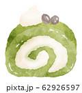 抹茶のロールケーキ 水彩風イラスト素材 62926597