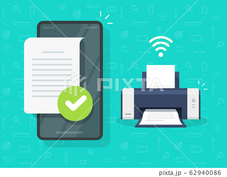 Print document on printer wirelessly via mobile phone or smartphone wifi connection with file printing fax or ink jet vector flat cartoon illustration modern image, concept of air or bluetooth print 62940086