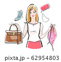 フリマで不用品を売る女性 カラーバリエーション 62954803