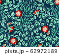 Vintage floral seamless pattern background with red roses and foliage in the dark. Vector illustration. 62972189
