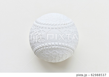 注意)背景の白に、絞り込みによるセンサー面ゴミが残ります。軟式野球の球。 62988537