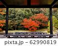 写真素材:紅葉の風景を建物から眺める 62990819