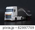黒バックに白色大型電動トラックのイメージ 62997709