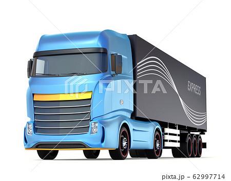 白バックに青色大型電動トラックのイメージ 62997714