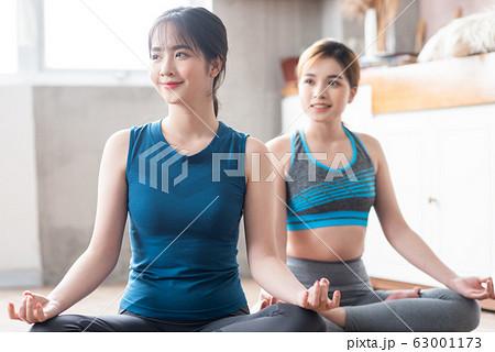 woman fitness at home, yoga, gym 63001173