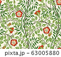 Vintage floral seamless pattern background with red roses and foliage on light background. Vector illustration. 63005880