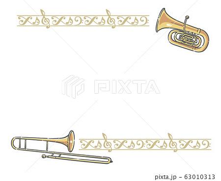 飾り罫と金管楽器のフレーム素材 63010313