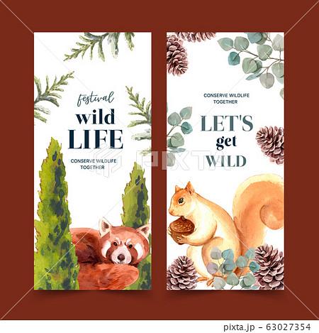 Winter animal flyer design with fox, squirrel 63027354