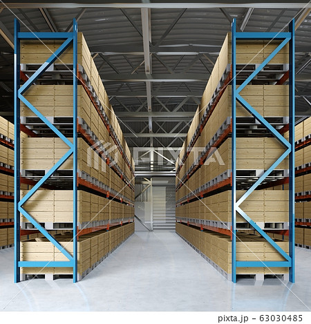 Large storage room with shelving and pallets. 63030485