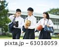 中学生 笑顔 学校生活 63038059
