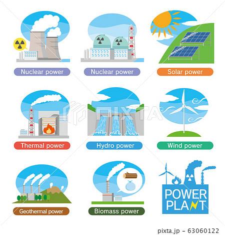 発電所 発電 電気 設備 施設 建物 セット  63060122