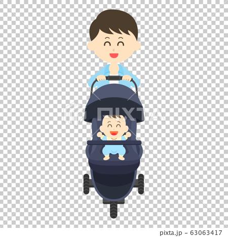 Dad pushing a stroller 63063417
