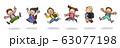 ジャンプする子供たちCセット(小学生、ランドセル) 63077198