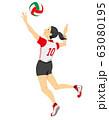 バレーボール選手のイラスト(シームレス) 63080195
