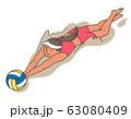 ビーチバレー選手のイラスト 63080409