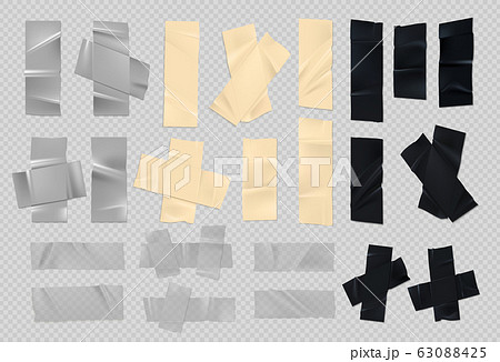 Adhesive tape. Realistic sticky black silver and paper pieces of old duct tape with rough edges. Vector set of scotch torn strips 63088425