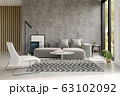 Interior of modern living room with sofa 3 D rendering 63102092