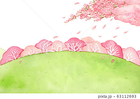 手描き水彩|桜の木と丘 背景イラストお花 63112693