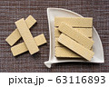 Heap of wafers in plate, top view 63116893