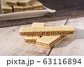Wafer Biscuits on wooden table. Stock Image 63116894