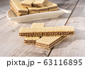 Wafer Biscuits on wooden table. Stock Image 63116895