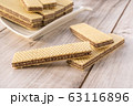 Wafer Biscuits on wooden table. Stock Image 63116896