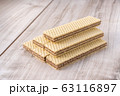 Wafer Biscuits on wooden table. Stock Image 63116897
