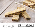 Wafer Biscuits on wooden table. Stock Image 63116898