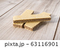 Wafer Biscuits on wooden table. Stock Image 63116901