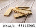 Wafer Biscuits on wooden table. Stock Image 63116903