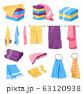 Home textile, towels stacks and holders, isolated icons 63120938