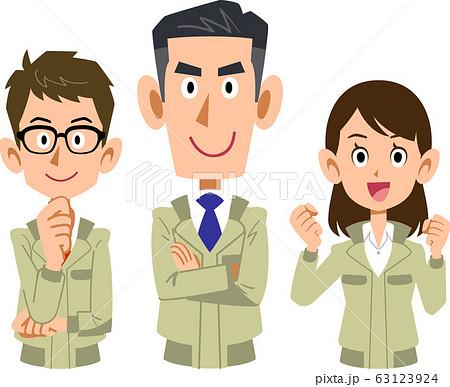 作業着を着た3人の男女の上半身 63123924