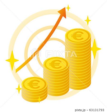 ユーロのコインと上昇する矢印 63131793