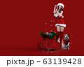 クリスマスのコスチュームを着てプレゼントの袋の隣でポーズをとる笑顔の日本人の若い女性と犬 63139428