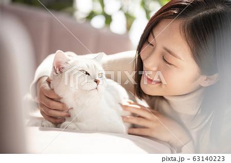猫と暮らす若い女性 63140223