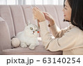 猫と暮らす若い女性 63140254
