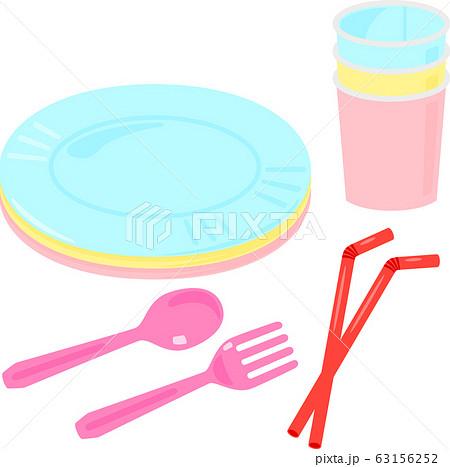 紙皿、紙コップとプラスチックのスプーン、フォーク 63156252